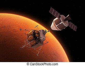spazio, interplanetario, pianeta, stazione, orbitare, rosso
