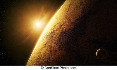 spazio, marte, alba, primo piano, pianeta