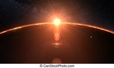 spazio, marte, illustrazione, alba, pianeta, 3d, tramonto