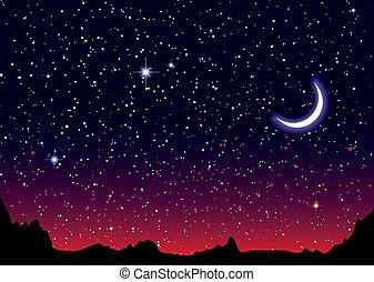 spazio, paesaggio, rosso, luna