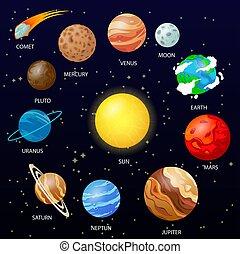 spazio, pianeti, fondo