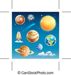 spazio, pianeti, icone
