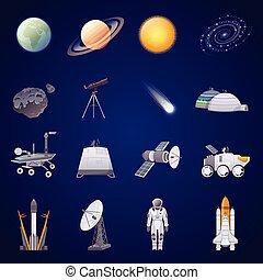 spazio, set, esplorazione, icone, appartamento