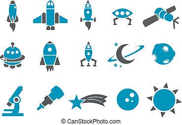 spazio, set, icona