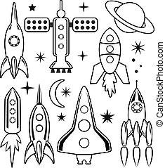 spazio, simboli, vettore, stilizzato