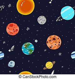 spazio, solare, stars., modello, pianeti