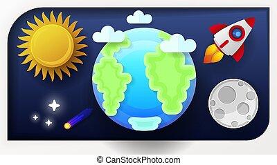 spazio, sole, illustrazione, luna, vettore, terra
