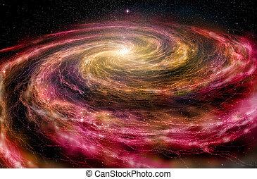 spazio, spirale, illustrazione, profondo, galassia, 3d