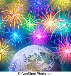 spazio, terra, fireworks