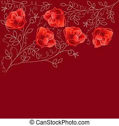 spazio, testo, scuro, rose, fondo, rosso