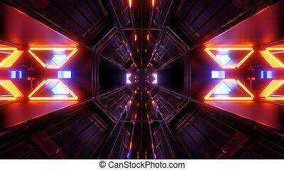 spazio, tunnel, scuro, luci, ardendo, sfondo nero, interpretazione, 3d