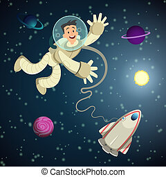 spazio, un po', vettore, astronauta, planets., fondo, navetta, aperto, cartone animato