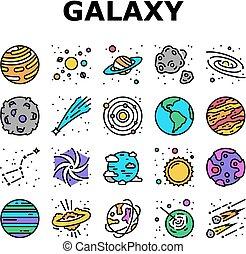 spazio, vettore, sistema, galassia, collezione, icone, set
