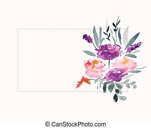 spazio, zona, acquarello, testo, fiore, decorazione
