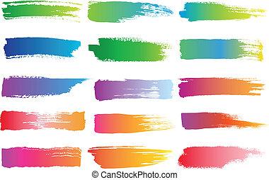 spazzola watercolor, colpi, vettore