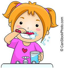 spazzolatura, capretto, denti