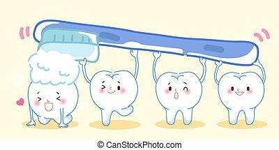 spazzolatura, carino, cartone animato, denti