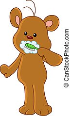 spazzolatura, orso teddy, denti