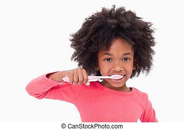 spazzolatura, ragazza, lei, denti