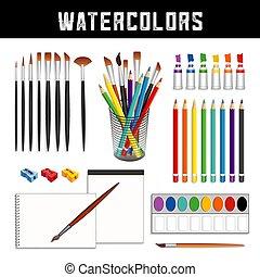 spazzole, carta, vernici, matite, acquarellature