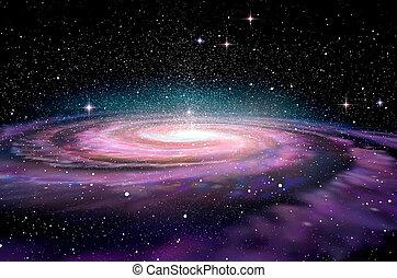 spcae, galassia, spirale, profondo, 3d