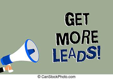 speaking., messaggio foto, strategia, altoparlante, scrittura, nota, seguaci, presa a terra, nuovo, megafono, più, clienti, affari, ottenere, marketing, esposizione, fondo, leads., uomo, sguardo, clienti, verde, showcasing