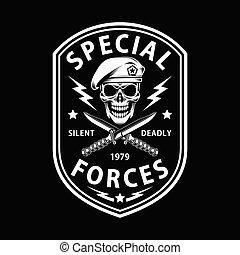 speciale, attraversato, forze, pugnale, esercito, nero, emblema