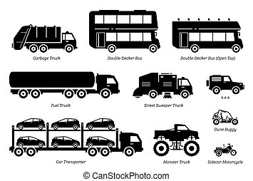 speciale, veicoli, set., scopo, elenco, icona