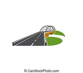 speedway, ponte, strada, vettore, cavalcavia, icona