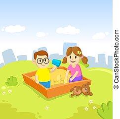 spendere, fuori, attivo, leisure., sandbox, amici, bambini, cityscape, appartamento, cartone animato, park., blu, illustration., tempo, ragazza, cielo, gioco, ragazzo, città, vettore, grattacieli