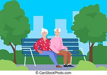 spendere, gray-haired, camminare, uomo, passatempo, ricreativo, insieme, coppia, bench., anziano, park., seduta, caratteri, area., persone, ozio, seniors, donna, città, vettore, outdoor., tempo, vecchio