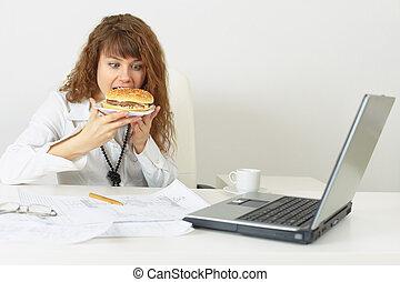 spento, donna d'affari, lavoro, su, senza, venuta, frette, mangiare
