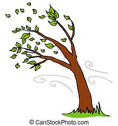 spento, foglie, soffiando, albero, vento