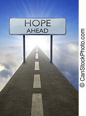 speranza, avanti, segno strada