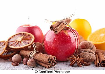 spezie, mela, rosso