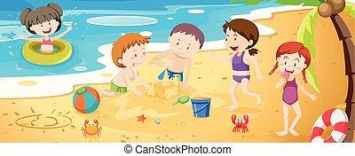 spiaggia, bambini, gruppo, gioco, prossimo