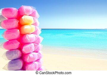 spiaggia, caraibico, caramella, colorito, cotone
