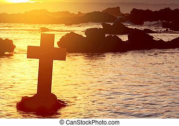 spiaggia, croce, cristiano