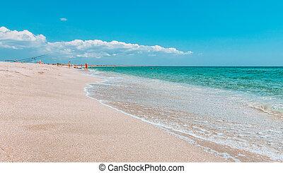 spiaggia, estate, posto, vacanza, mare, azzurro, sfocato, sabbia, chiaro, bianco, cristallo, text., copia, tuo, space., abbandonato, ideale, sea., place., viaggio sicuro, concetto, fondo