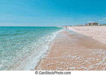 spiaggia, estate, posto, vacanza, mare, azzurro, sfocato, sabbia, vuoto, chiaro, bianco, cristallo, text., copia, tuo, space., abbandonato, ideale, sea., place., viaggio sicuro, concetto, fondo