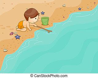 spiaggia, gioco, capretto