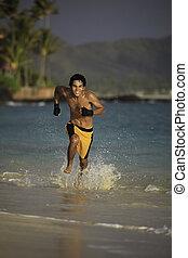 spiaggia, giovane, correndo, asiatico