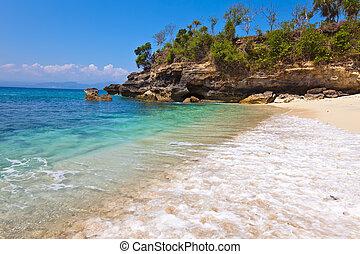 spiaggia, indonesia, ocean., vista, sabbioso, bali, pietre
