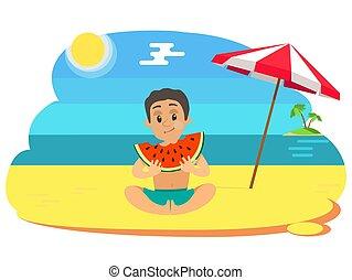 spiaggia, mangiare, vettore, anguria, estate, capretto