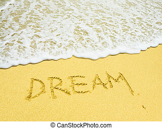 spiaggia, parola scritta, sogno, sabbioso