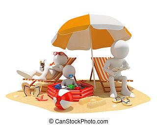 spiaggia, persone., famiglia, 3d, bianco