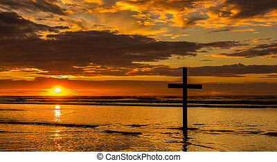 spiaggia, salvezza, tramonto