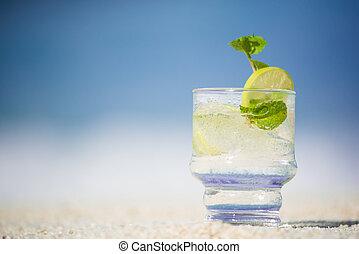 spiaggia, soleggiato, sabbioso, bibite