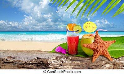 spiaggia, starfish, cocktail, tropicale, noce di cocco