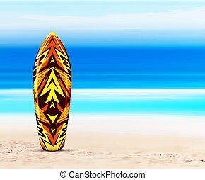 spiaggia, surfboard, hawaiano, fondo, contro, o, tropicale, vettore, disegno, illustrazione, ocean., style., mare